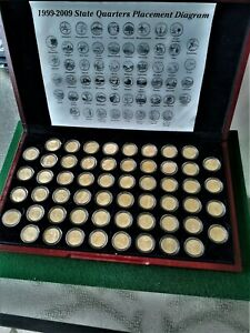 Full Set of 56 1999-2009 State and Territories Quarters, all layered in gold.