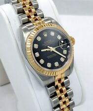 Rolex Datejust 179173 Black Fact Diamonds Dial 18K Y G & SS Jubilee Ladies Watch