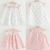 Toddler Kids Baby Girls Solid Bow Floral Suspender Princess Party Dress Sundress