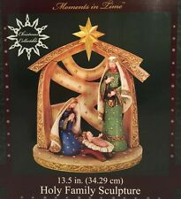 """New Lg Moments in Time Christmas Holy Family Sculpture Nativity Gold Star 13.5"""""""