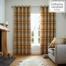 Catherine Lansfield Brushed Heritage Check Fully Lined Eyelet Curtains Ochre
