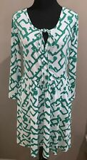 French Connection Downtown Grid Green White Long Sleeve Faux Wrap Dress Sz 6