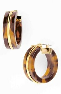 NEW RALPH LAUREN BROWN TORTOISE, 14K GOLD PLATED TRIM SMALL HOOP EARRINGS