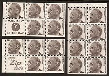 18 USA 1966 Roosevelt Stamps Plates Booklet 6c Blocks Sc# 1284 Use Zip Code MNH