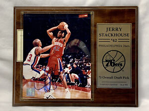 Jerry Stackhouse Autographed 8x10 Photo Plaque NBA Limited Edition #54/995