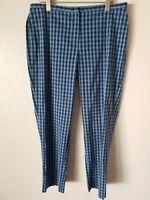 DKNY Women's Blue Size 14 Gingham Check Plaid Slim Leg Dress Pants