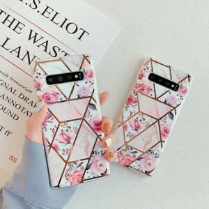 For Samsung Note 10 S10 Plus A70 Geometric Plating Retro Flower IMD Case Cover