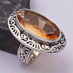 Peach Topaz Ethnic Handmade Ring Jewelry US Size-8 AR 41965