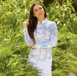 IBKUL Sharon 1/4 Zip Mock Neck Top White Paisley Pullover S L XL Long Sleeve