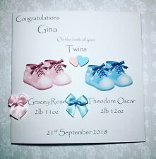Handmade new born twins personalised card- sparkly baby shoes/ boy / girl