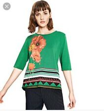 Desigual Womens Large Green 3/4 Sleeve Oklahoma T-Shirt Blouse Top Size L