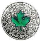 2014 CANADA 1 oz 9999 Silver $20 Maple Leaf Impression Green Enamel