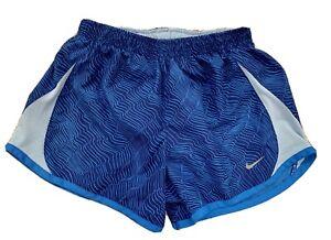 Nike Girls M Medium Athletic running shorts pocket inside tie waist Blue Print