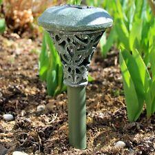 LED Solar Leuchte Außen Lampe Licht Schalter Akku Garten Terrasse Erdspieß grau