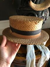 Vintage Straw Boater Hat Grosgrain Ribbon Circa Early 1900's