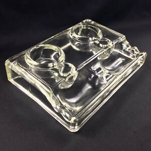 Antique Glass Double Inkwell Art Deco Ink Pot & Pen Holder Made In England