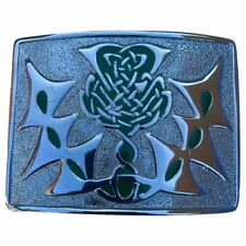 CC Scottish Kilt Belt Buckle Celtic Knot Thistle High Quality Chrome Finish