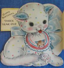 SWEET CAT KITTEN WITH BIB UNUSED 3 YR OLD CHILD'S BIRTHDAY VINTAGE GREETING CARD