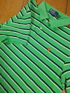 Vintage Polo Ralph Lauren XL Green Striped Orange Pony Shirt EUC Extra Large