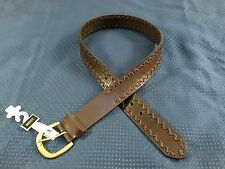 Mixit Genuine Leather Brass Buckle Chocolate Laced Design Belt Fits Waists 30-34