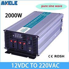 2000W DC12V to AC220V Pure Sine Wave Power Inverter Household LED Display