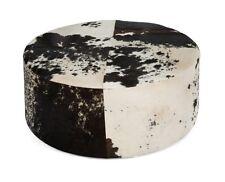 Cow Hide black and white Round Ottoman  footstool ottoman 80cmDia x 30cmH