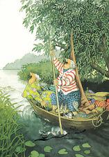 Postkarte: Inge Löök - Frauen singend im Boot - Ausflug / Nr. 28