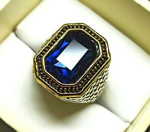 Pretty Ring Emerald Cut Tanzanite Silver Plated Solid Stunning US Size 8.5
