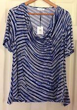 Calvin Klein Women's Blue & White Striped Cowl Neck Stretch Knit Top Size 1X NWT