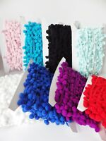 "5 metres x POM POM BOBBLE TRIM FRINGE - 8 colours - Ball 1cm (0.4"")"