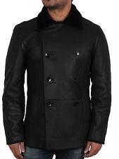 Men Real Sheepskin double breasted Leather Jacket    Brandslock Leather Jackets