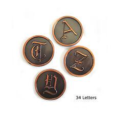 Mid Century Copper Monogram Initials L.E. Mason Co Crafting Supplies Old English