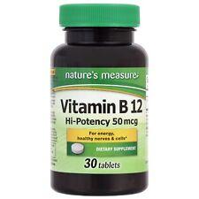 Nature's Measure B-12 Vitamins Hi-Potency 50mcg Supplement FREE SHIPPING