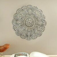 Flower Medallion Disc Plate Wall Sculpture Hanging Accent Decor Distressed Gray
