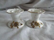 Vintage Pair of Royal Adderley Candlesticks - Gold Floral Bone China England