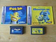 NINTENDO GBA GAMES  - SHARK TALE & Disney MONSTERS INC. - CARTRIDGES & MANUAL