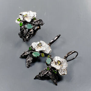 Handmade jewelry SET Emerald Ring Silver 925 Sterling  Size 6.5 /R169131