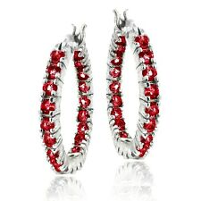 925 Silver 2.1ct Created Ruby Hoop Earrings