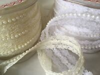 Pearl and Lace Beaded Trim Ribbon Vintage Style Wedding Ivory Or White