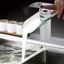 Glas Design Waschtischarmatur Wasserhahn Wasserfall Waschbecken Bad Armatur Hot*
