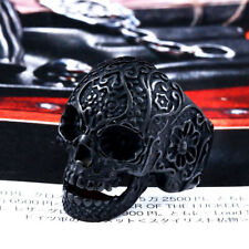 Vintage Stainless Steel Black Skull Ring Biker Punk Gothic Size UK P - Z