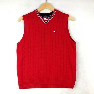 Boy's Tommy Hilfiger Sleeveless Cable Knit Jumper Sweater - Size XL - Red