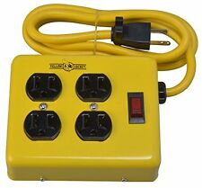 Yellow Jacket 2177N 4-Outlet Metal Power Block Adapter w/ ed Switch 4ft Yellow