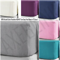 "Brushed Cotton Flannelette Extra Deep Fitted Sheets 40CM/16"" in 12 Colours"