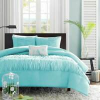 Turquoise Blue Aqua Girls Full / Queen Comforter Set (4 Piece Bed Bag)