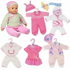 """New Born Baby Doll Set of 6 Outfits 12-16"""" Baby Dolls Clothes Romper Pink Dress"""