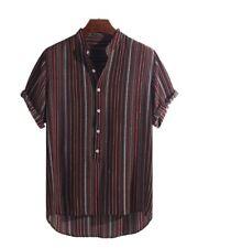 Short Sleeved light weight Striped Henley  Shirt. Size 3xl- 4xl