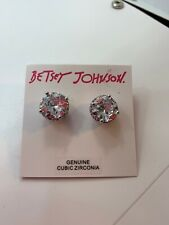 $25 Betsey Johnson Crystal Rhodium  Stud Medium Earrings Crystal Stud #701
