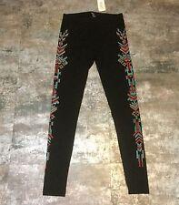 NWT Forever 21 Black Turquoise Red Orange Native American Tribal Leggings, Sz M