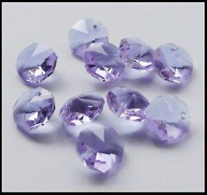 Crystal Octagon A-Grade 14mm 1 Hole x 10 LILAC for Suncatcher etc